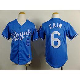 Wholesale Youth Baseball Jersey Royals Lorenzo Cain Light Blue Kids Baseball Apparels New Fashion Comfortable Boys Baseball Wears Hot Sale