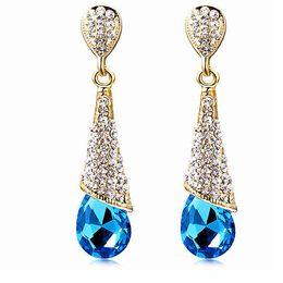 Wholesale 18K GOLD Plated Austrian Crystal Earrings Water Drop Shape Stud Earrings For Women Cheap Earrings Jewelry For Wedding A103