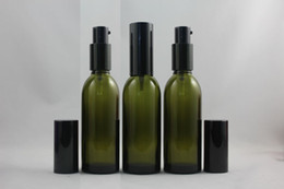 60ml olive green Glass lotion bottle with black aluminum lotion pump,packing for liquid,cosmetic container