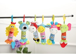 1 pcs Catoon toy baby Soft Animal Model Hand bell Rattles plush teether