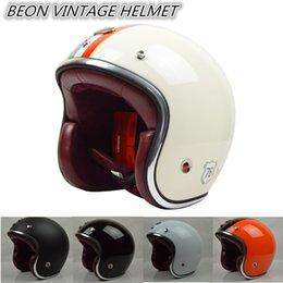 Venta al por mayor libre del envío casco BEON capacetes almohadilla interna casco de la motocicleta de la vendimia con cascos de cuero de carreras retro scooter de ECE M L XL desde cascos de carreras de la vendimia fabricantes