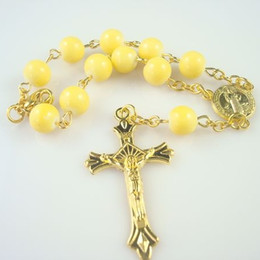 Factory Sale Religious Fashion 8 mm Glass Beads Cross Rosary Bracelets Catholic Jewelry For Women Wholesale