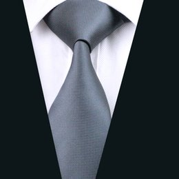 Classic Gray Necktie for Men Silk Jacquard Woven Business Tie Meeting Casual Solid Grey Suit Tie D-0311