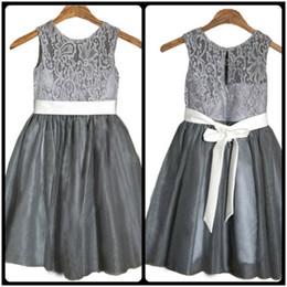 2016 Grey Flower Girls' Dresses with White Sash Wedding Children Easter Bridesmaid Communion Baptism Dress Cheap Custom Made