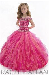 Wholesale New Arrival little Kids Outstanding Beaded crystal Organza Toddler Beauty Pageant Dress Flower Girl Dresses