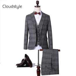 Wholesale-High Quality Jacket+Pants+Vest 3Pieces New 2016 Winter Plaid Men Casual Suit Bussiness Suit Casual Wedding Suit M~3XL
