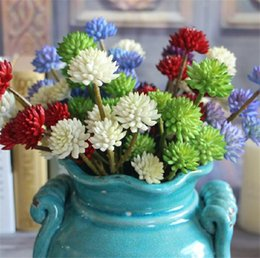 "NEW Plastic Stone Lotus 32cm 12.6"" Length 10Pcs lot Cream Purple Green Blue Red 6 Flower Heads per Bunch for Wedding Flower"