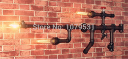 New Arrive!!! Gun Shape Water Pipe Wall Lamp Vintage Aisle Lamp Loft Iron Wall Lamp E27 Edison Incandescent Bulb Light Fixtures