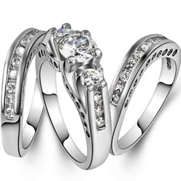 Wholesale Size to Rhodium Plated Wedding Ring Engagement Anniversary Sterling Silver Bride Birthday Wife Gift