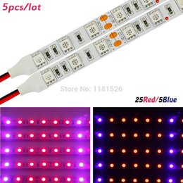 Wholesale-5pcs 0.5m 4W DC12V 25Red 5Blue Soft LED Grow Light Bars For Flowering Plant And Hydroponics System SMD5050 LED Strip lamps