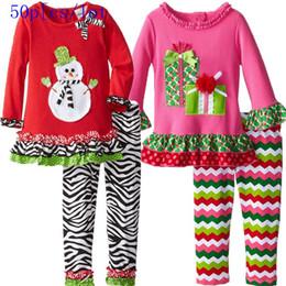 50pcs lot 2015 new yerar Spring Autumn Christmas Cartoon Cotton long sleeve T- shirt +striped waves pants suits