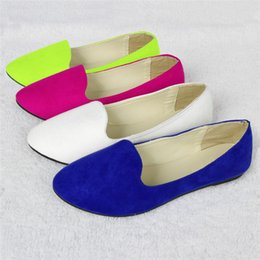 Wholesale New Arrivals Ladies Women Faux Suede Leather Ballet Ballerina Flat Dolly Shoes Pumps EX46