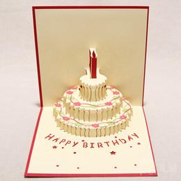 Velas de cumpleaños barcos en Línea-Hecho a mano Kirigami Origami 3D Pop UP Tarjetas de cumpleaños con la vela Diseño Para la fiesta de cumpleaños del envío (conjunto de 10)