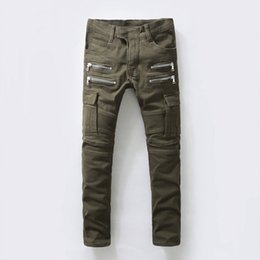 Wholesale new Designer men fashion stylish jeans Slim motorcycle balmain biker jeans army green Military overalls pants plus size men jogger