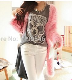 2018 new candy color knit hairy bat loose knit cardigan sweater coat
