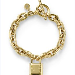 Wholesale-Big Fashion Designer Jewelry Gold Bangle Link Chains Charms Lock Bracelet