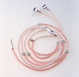 Wholesale Pearl earphones with diamond pink rosy purple black in ear headphone newest product fashional beatiful gift earbuds LL