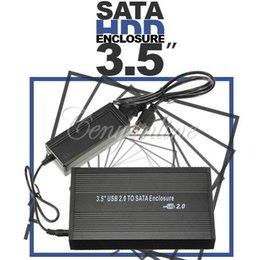NEW Free Driver Portable Black 3.5 inch USB 2.0 to SATA HDD Hard Drive Disk External Storage Case Box Enclosure Wholesale