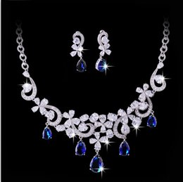 Wholesale Elegant High end Fashion Jewellery CZ Diamond Flower Drop Wedding Jewelry Set colors choice for wedding