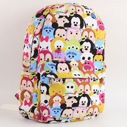 2017 sacs à bandoulière enfants Retail Tsum Tsum toile sac à dos Mickey Minnie Mouse impression cartable bande dessinée enfants épaule sacs sac d'école des élèves les enfants cadeau 201508HX budget sacs à bandoulière enfants