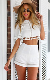 2 piece Set Women Dress hollow out backless dress pants Vestidos White Backless Short Bodycon Dress short pants