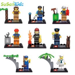 Wholesale 8pcs Different City Occupations Kid Baby Toy Mini Figure Building Blocks Sets Model Toys Minifigures Brick