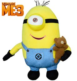 Wholesale Newest Despicable Me Minion D eyes cartoon Plush Toy Doll cm Large yellow man hug the bear Movie Minions Dave Jorge Stewart plush toy
