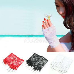 Wholesale-New Goth Party Sexy Dressy Women Lady Lace Gloves Mittens for Accessories Fingerless Black White red