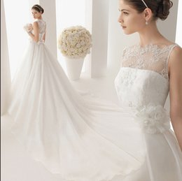 Wholesale Silk Wedding Organza Ribbon - 2015 Wedding Dresses Real Image Luxury Crystal Bridal Gowns With Beads Sheer Illusion Crew Neck Long Sleeves Plus Size Floor Length Tulle
