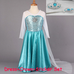 Wholesale 2015 Frozen new spring girls party dresses Elsa Anna dresses Long sleeve baby girl dress material cotton dress with crown sticker