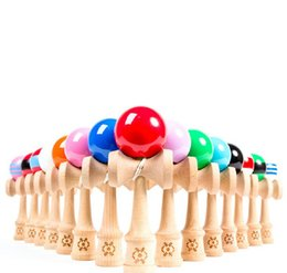 Wholesale Wooden Technique Funny Japanese Traditional Wood Game Toy Kendama Ball Education Gift Kids Girls Boys Children Toys Solid Color D4222
