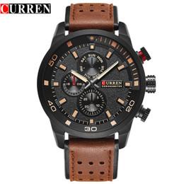 CURREN brand top new fashion casual quartz wrist watch men leather relojes strap round Quartz Water Resistant