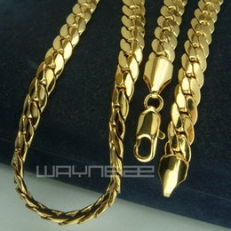 18k gold Filled mens solid Snake chain Necklace link jewellery N230