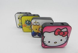 Wholesale 2014 Christmas gift square Cartoon design MINI MP3 Player With Micro TF SD Card Slot With Cable USB Earphone