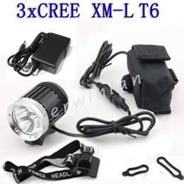 Wholesale Newest CREE XML T6 LED LM Bicycle Bike light HeadLamp Bicycle Front Lamp Headlight Flashlight charger headband Battery Pack