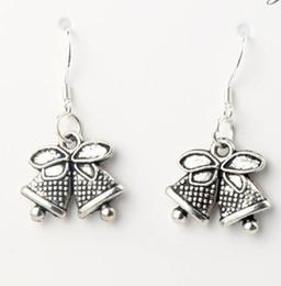 Wholesale Fashion x31 mm Tibetan Silver Jingle Bell Christmas Dots Bells Charm Pendant Earrings Silver Fish Ear Hook E793