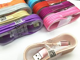 Wholesale Good quality Unbroken Metal Connector Braid Micro USB Data Sync Charger cable Lead For Samsung Galaxy S6 S5 S7 Note M ft M Feet M