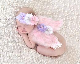 Baby Angel Wing + Chiffon flower headband Photography Props Set newborn Pretty Angel Fairy Pink feathers Costume Photo headband Prop E626