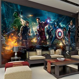 Wholesale The Avengers Wall Mural Hulk Captain Americ Thor Photo Wallpaper Movie poster Custom Wall Mural Kids room Nursery Sofa TV background wall