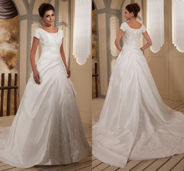 Wholesale 2015 Real Modest Ball Gown Wedding Dresses Bridal Gowns With Sleeves Appliques Beaded Taffeta Chapel Train Wedding Gowns Modest wd8486