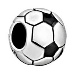 Round football Sports big hole metal slider bead European spacer charm fit Pandora Chamilia Biagi charm bracelet