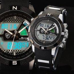 Wholesale New SHARK Flight Hours Dual Core Silicone Wristwatch Strap Fun Chronograph Multifunction Analog Quartz Men Sports Digital LCD Watch SH181