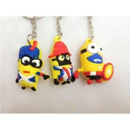 Wholesale Season Ending Sale D Despicable Me3 Keychains Cartoon Toys Keyring Keychains Top Soft Rubber D Little Yellow Man Keychain