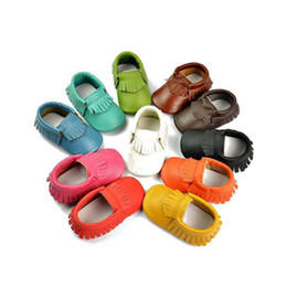 2016 Baby new soft sole moccs infant girl 81styles choose genuine leather prewalker booties toddlers fringe cow moccasin shoes