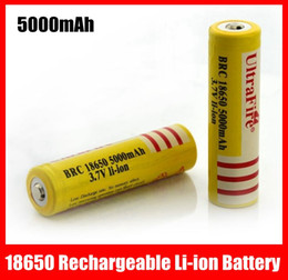 Wholesale Yellow Ultrafire Battery V mAh Rechargeable Li Ion Batteries for LED Flashlight Laser pen
