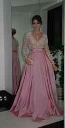 Wholesale Stunning Vestidos De Bridesmaids Dresses para madrinhas Beads Nude Pink Satin A Line Long Sleeves Charming Floor length New Arrival WB03