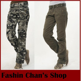 Wholesale-Hot sale New Fashion Autumn-Summer Army Green Denim camouflage cargo pants women, loose jeans baggy camo pants for woman