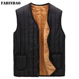 Fall-Dad Dongkuan big yards plus velvet thicker section of middle-aged men's vest cotton vest V-neck