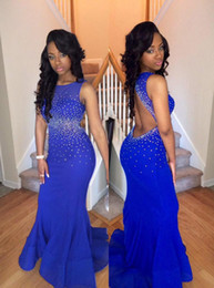 Royal Blue Prom Dresses Backless Crystal Beading Formal Evening Gowns Crew Neck Long Party Gowns Cheap Gowns