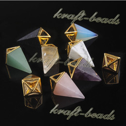 wholesale 10Pcs Classic Gold Plated Four Corners Awl Shape Natural Amethyst Rose Quartz Gemstone Pendulum Pendants Necklace